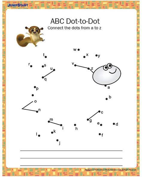 abc dot  dot printable kindergarten worksheet jeux
