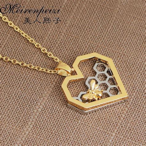 honeybee honeycomb necklace beekeeper jewelry beehive busy