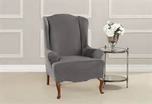 sure fit ultimate heavyweight stretch suede wing chair slipcovers