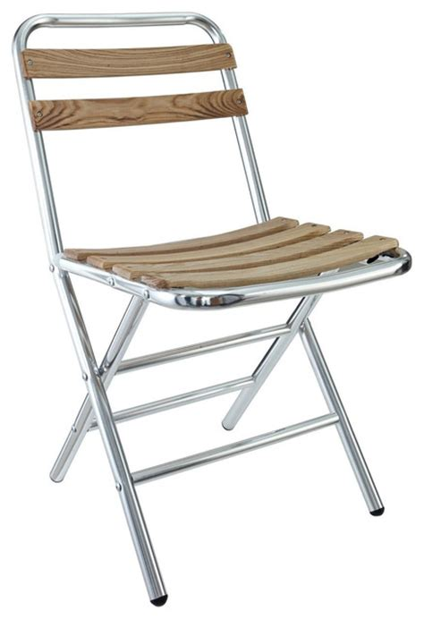 folderia aluminum folding chair in silver modern