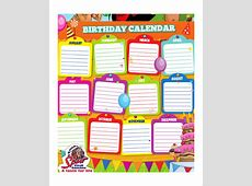 Birthday Calendar Template Calendar Printable Free