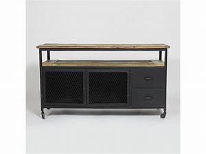 Meuble Deux Portes : meuble tv industriel deux portes et 2 tiroirs mim4322 bois colores vente de meuble tv ~ Teatrodelosmanantiales.com Idées de Décoration