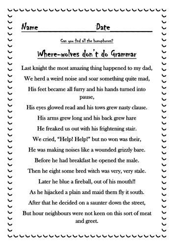 halloween homophone poem  markallder teaching