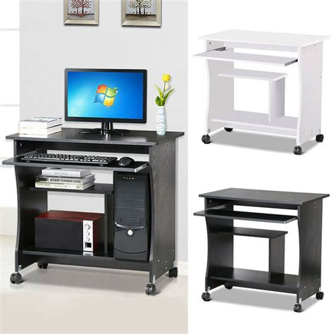 home office small portable wooden computer trolley desk keyboard storage shelves ebay