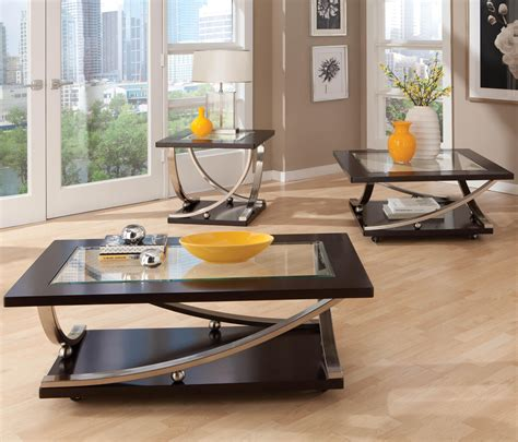 A beautiful design for a coffee table that combined wood, glass and stainless. Square End Table with Glass Table Top by Standard Furniture   Wolf and Gardiner Wolf Furniture