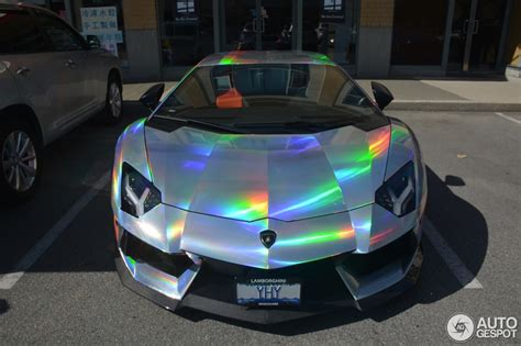rainbow chrome lamborghini lamborghini aventador spotted in mind warping holographic wrap