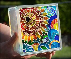 Painted Glass Block / Pop Art Sunflower Gift / Night Light or