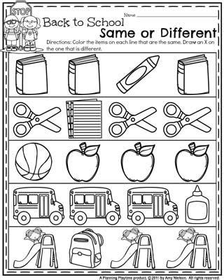 back to school preschool worksheets planning playtime 560 | Back to School Preschool Worksheets Same or Different.