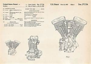 Harley Gifts Motorcycle Evolution Engine Patent Art Drawings Hd Evo