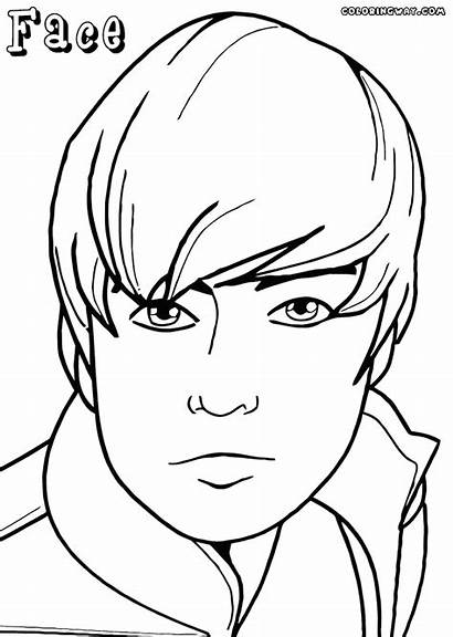 Face Coloring Pages Boys Drawing Colouring Boy