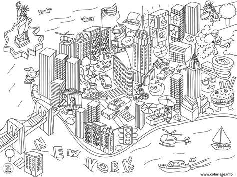 Carte De à Imprimer Avec Villes by Coloriage New York Ville Usa Dessin