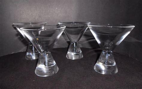 Steuben Teardrop Martini Cocktail Glasses Set Of 4 Vintage