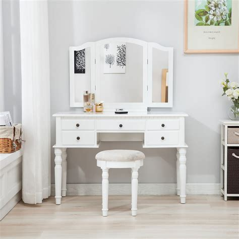 Vanity Table With Mirror And Drawers by White Tri Folding Mirror Vanity Makeup Table Dressing Desk
