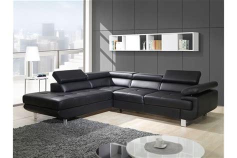 canapé cuir noir design canapé design d 39 angle studio cuir pu noir canapés d