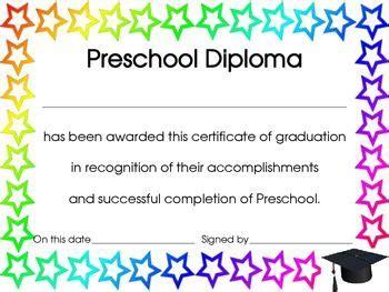 year preschool diploma certificate  award