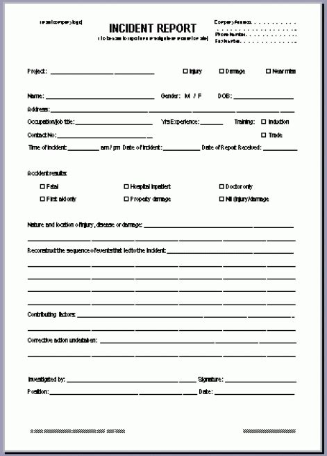 incident report form template 10 incident report templates word excel pdf formats