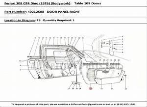 Ferrari Part 40212508 Door Panel Right