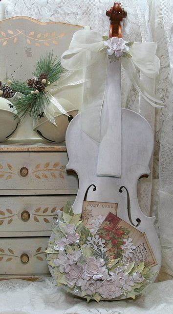 shabby painted altered violin decoration for cottage room home decor wedding reception