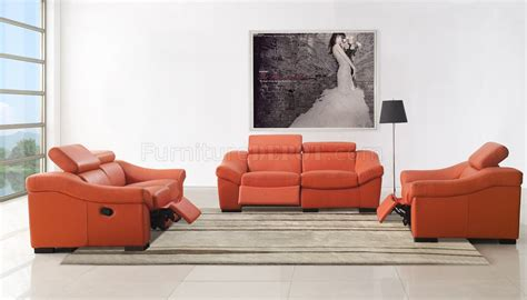 Orange Leather Loveseat by 8021 Reclining Sofa In Orange Leather By Esf W Options