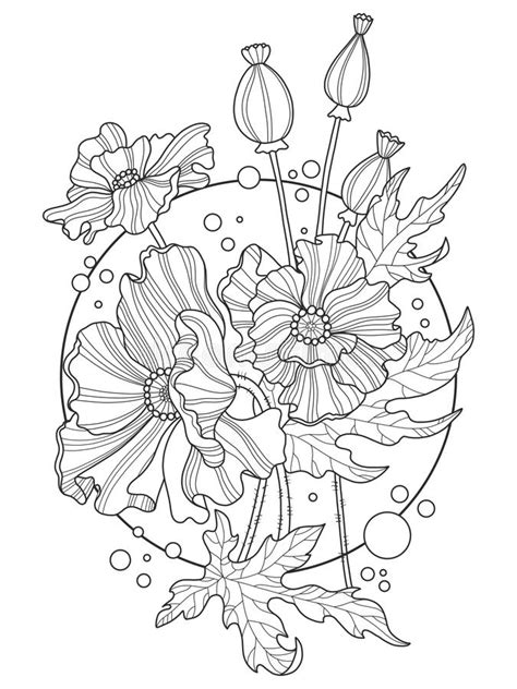 Poppy Flowers Coloring Book Vector Illustration Stock Vector - Illustration of color, drug: 85753513
