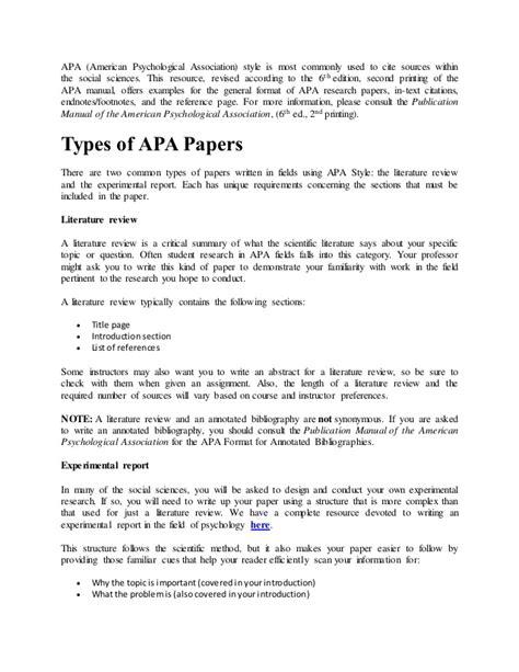 american psychological association apa format 6th edition