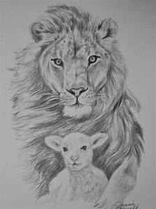 The Lion And The Lamb Drawing by Janice Howell