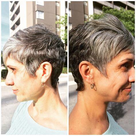 iconic short shag hair cut  mature women