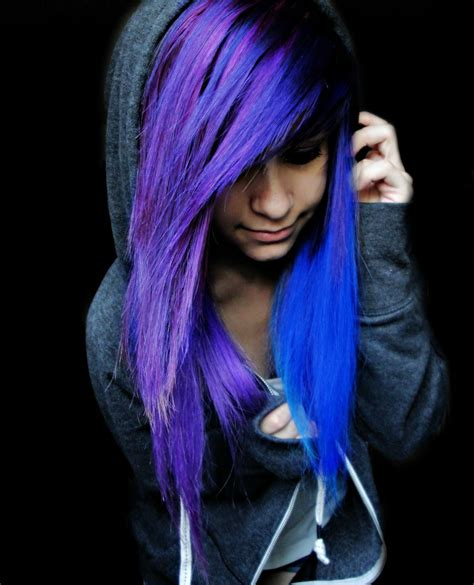 Emo Girls With Blue And Purple Hair Hair Scene Hair
