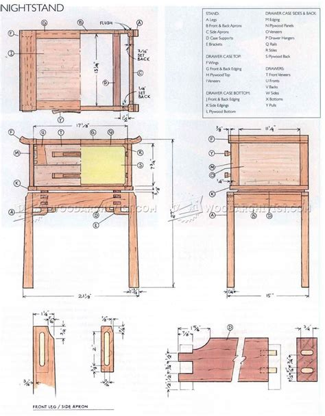 nightstand plans woodarchivist