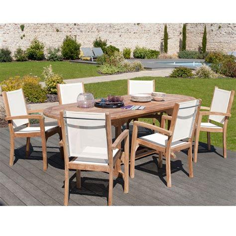 Salon de jardin en teck et textilu00e8ne SUMBARA 24 - 1 table ovale extensible et 6 fauteuils