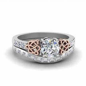round cut celtic diamond ring and matching band in 14k With celtic diamond wedding rings