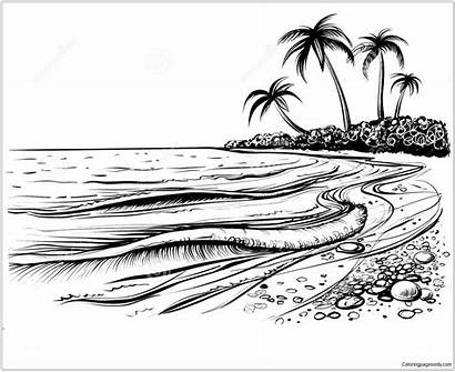Beach Sea Waves Pages Coloring Printable Coloringpagesonly