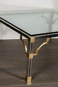 Mid century modern brushed nickel and brass cocktail table for Brushed nickel coffee table