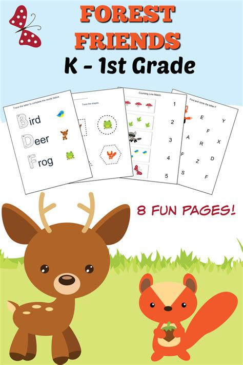 woodlands forest friends printable preschool set