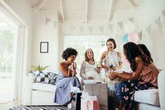 friends shower together of on baby shower stock photo