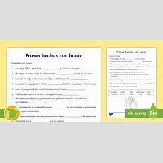 * New * Ficha De Actividad Completa Frases Hechas Con Hacer 3 Vocabulario