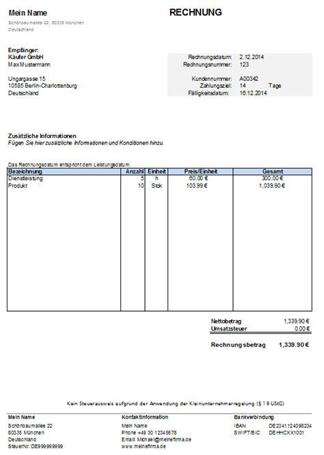 kleinunternehmer rechnungsvorlage kostenlose vorlage