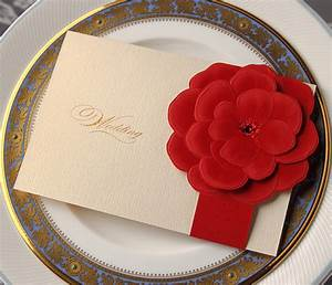 3d red flower invitations floral wedding by wishmadecards With 3d wedding invitations etsy
