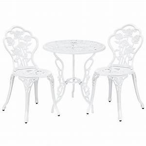 Gartentisch Mit 2 Stühlen : gartentisch bistro tisch 60cm rund wei mit 2 st hlen franz sische gartenm bel ~ Frokenaadalensverden.com Haus und Dekorationen