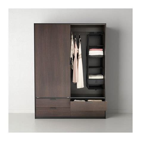 trysil wardrobe  sliding doors drawers dark brown black