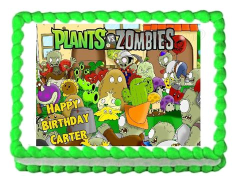 plants  zombies edible party cake topper decoration