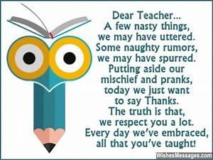 Thank You Teacher Quotes From Students. QuotesGram