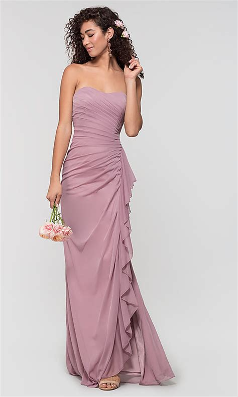 ruched long strapless bridesmaid dress  kleinfeld