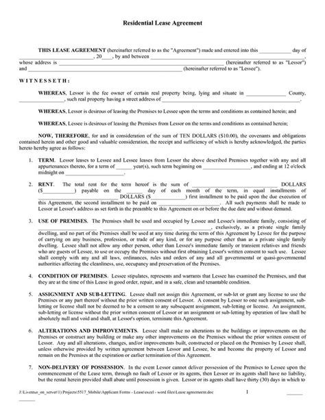 Free Lease Template by Free Residential Lease Agreement Template Pdf Free