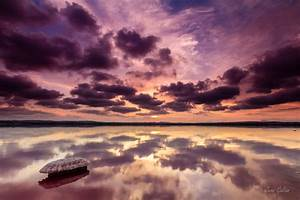 Sunset, Clouds, Reflected, In, Lake, 4k, Ultra, Hd, Wallpaper