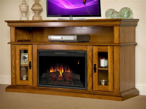 brookfield  premium oak media console electric