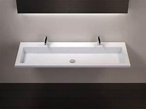 Vasques Largeur 120 Plan vasque suspendue ou à encastrer double robinetterie , largeur 120 cm