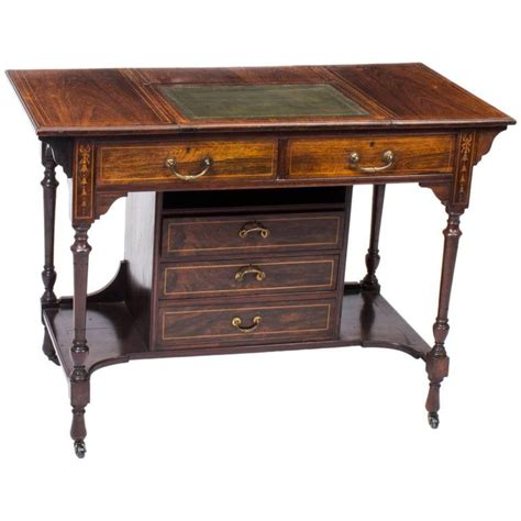 edwardian inlaid writing table desk   writing table