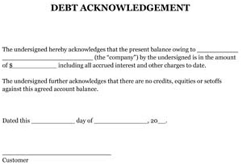 Acknowledgement Of Debt Template Sle Debt Acknowledgement Small Business Free Forms