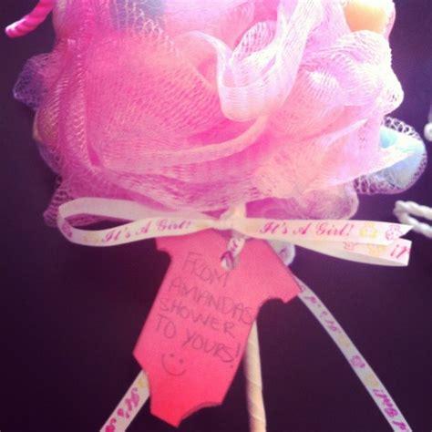 babyshower favors loofah   stick  amandas
